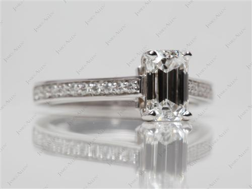 White Gold 1.23 Emerald cut Diamond Ring