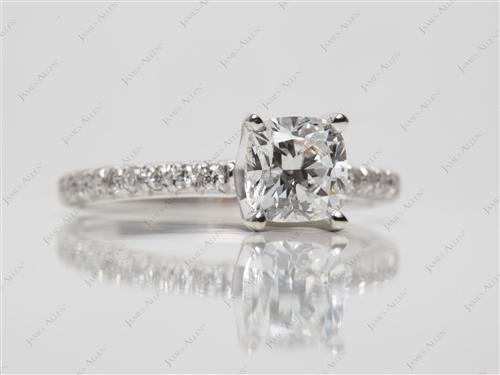 White Gold 0.91 Cushion cut Pave Diamond Ring