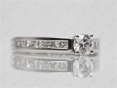 White Gold 0.48 Round cut Channel Diamond Ring