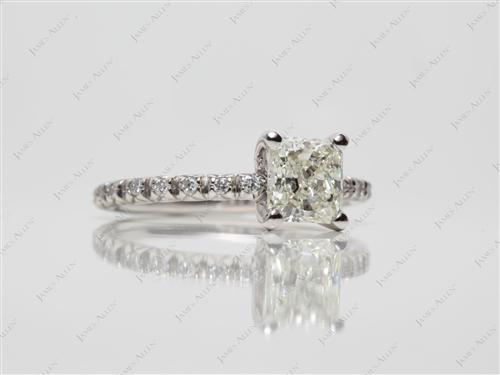 Platinum 0.94 Radiant cut Engagement Rings Pave