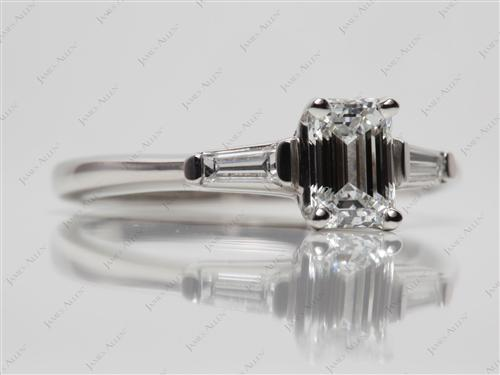 Platinum 1.00 Emerald cut Engagement Ring Settings With Side Stones