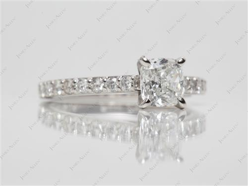 Platinum 1.01 Cushion cut Diamond Rings With Side Stones