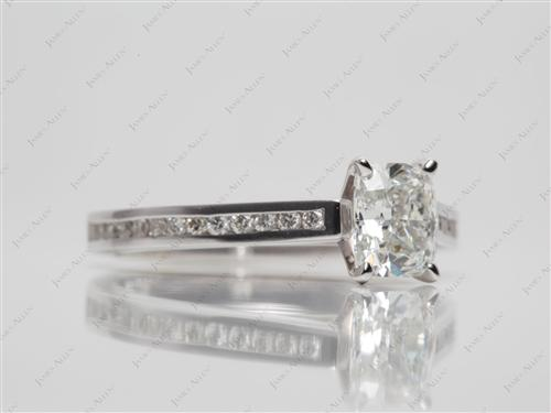 White Gold 1.00 Cushion cut Diamond Channel Ring