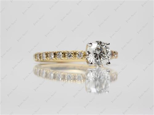 Gold 0.76 Round cut Engagement Rings Pave
