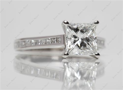 Platinum 2.09 Princess cut Channel Setting Ring