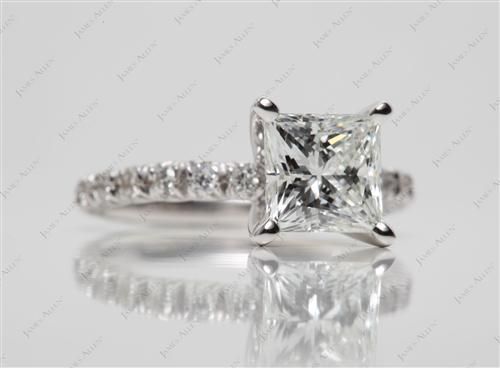 White Gold 1.63 Princess cut Diamond Pave Rings