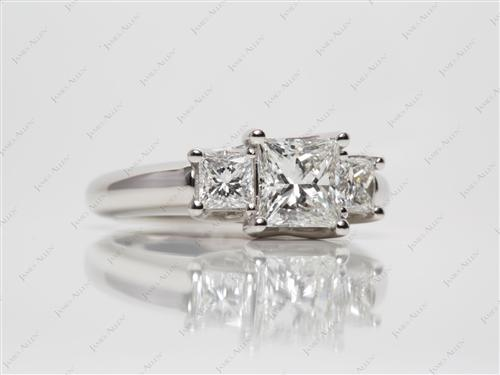 Platinum 1.05 Princess cut Three Stones Diamonds Rings