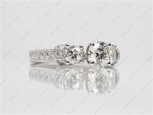 White Gold 0.61 Round cut Engagement Rings
