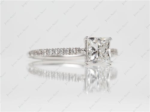 White Gold 1.04 Princess cut Engagement Ring