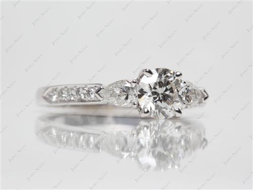 White Gold 0.91 Round cut Diamond Ring