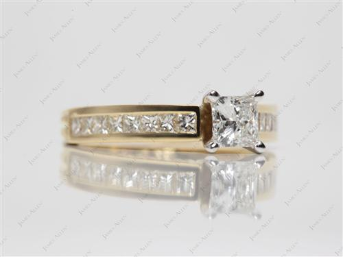 Gold 0.52 Princess cut Channel Set Engagement Rings