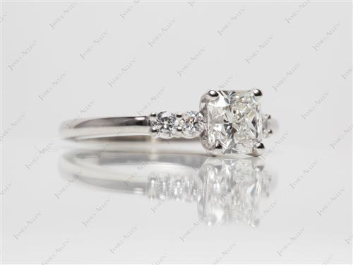 Platinum 1.01 Radiant cut Princess Cut Engagement Rings With Side Stones