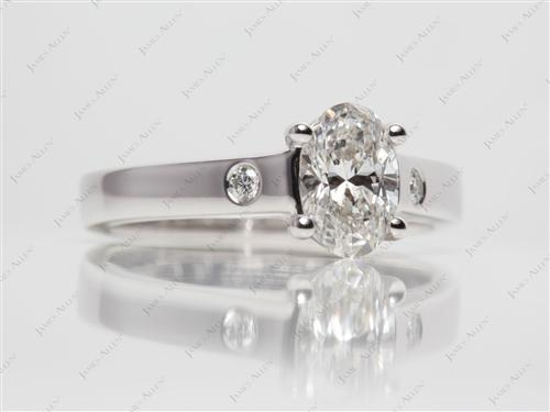 White Gold 1.05 Oval cut Engagement Rings
