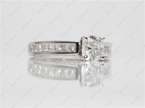 White Gold 0.81 Cushion cut Channel Setting Ring