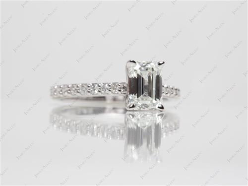 White Gold 1.13 Emerald cut Engagement Ring