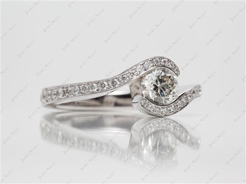 White Gold 0.61 Round cut Pave Engagement Ring