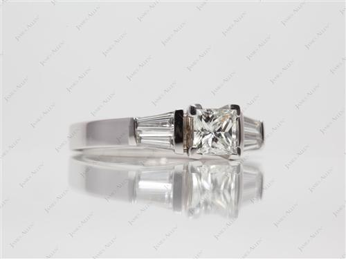 White Gold 0.53 Princess cut Engagement Rings With Sidestones