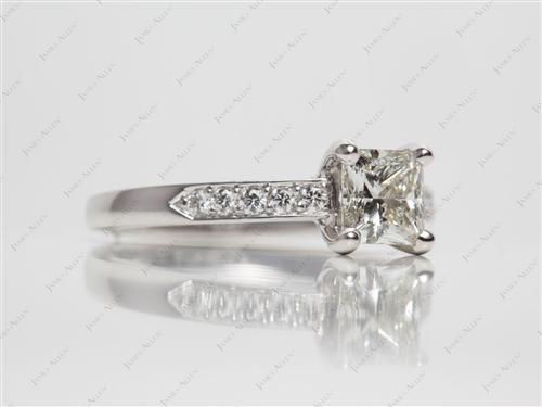 Platinum 1.01 Princess cut Pave Diamond Engagement Rings
