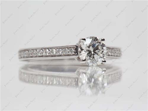 White Gold 0.72 Round cut Diamond Pave Rings