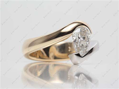White Gold 1.09 Pear shaped Tension Set Diamond Ring