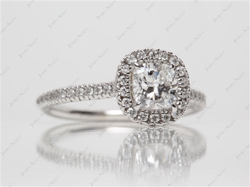 White Gold 0.70 Cushion cut Pave Ring Settings