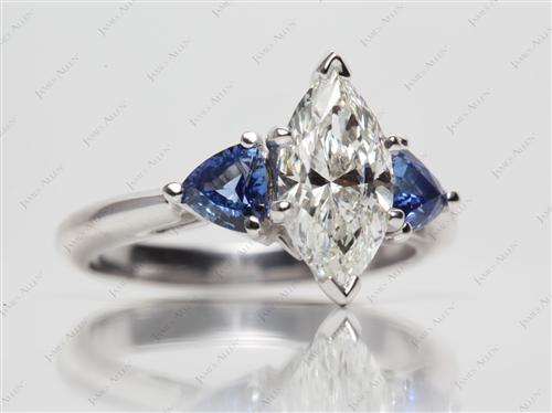 Platinum 1.50 Marquise cut Engagement Rings