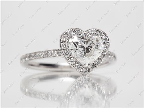 White Gold 1.20 Heart shaped Pave Rings
