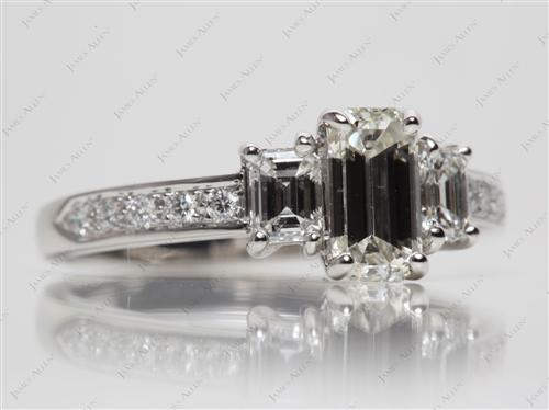 Platinum 1.00 Emerald cut Engagement Rings With Side Stones