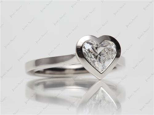 Platinum 0.92 Heart shaped Solitaire Ring Settings