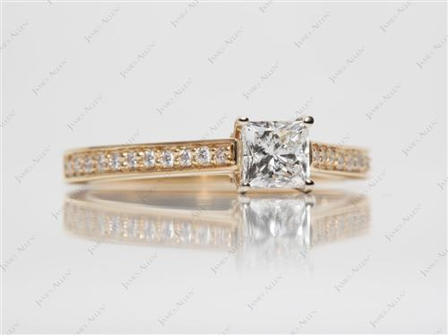 Gold 0.62 Princess cut Wedding Band Sets