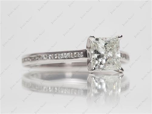 White Gold 1.20 Princess cut Channel Set Diamond Engagement Rings