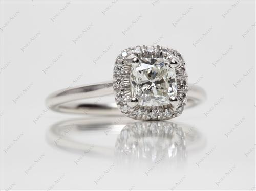 Platinum 1.10 Cushion cut Wedding Sets