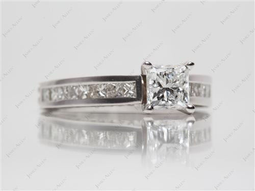 White Gold 0.71 Princess cut Gold Wedding Ring Sets