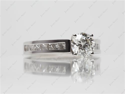 White Gold 0.71 Round cut Diamond Channel Rings