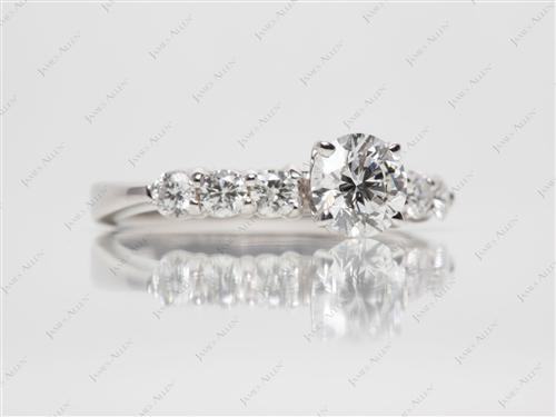 White Gold 0.70 Round cut Engagement Ring Side Stones