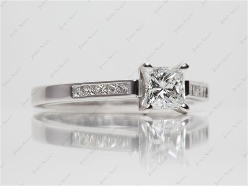 White Gold 0.72 Princess cut Channel Set Rings
