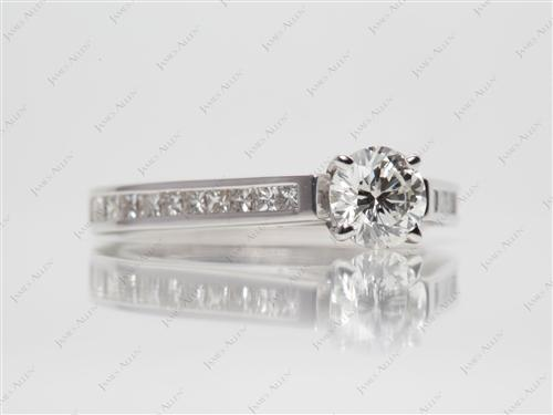 White Gold 0.62 Round cut Diamond Channel Rings