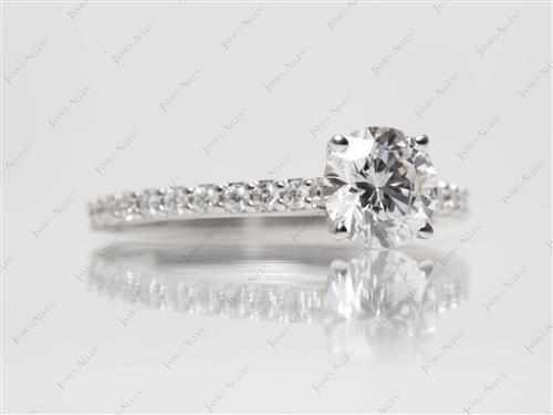 White Gold 1.02 Round cut Engagement Ring