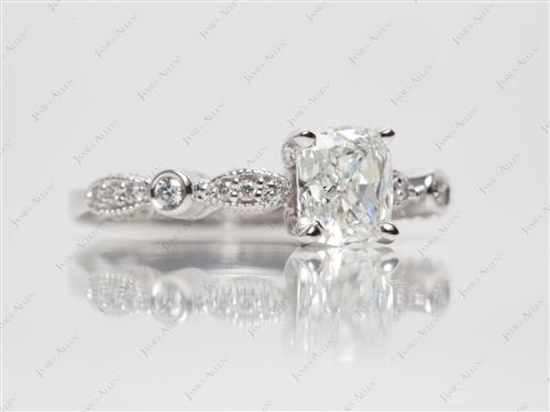 White Gold 1.00 Cushion cut Engagement Rings With Side Stones