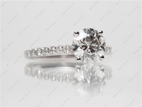 White Gold 1.34 Round cut Engagement Rings With Sidestones