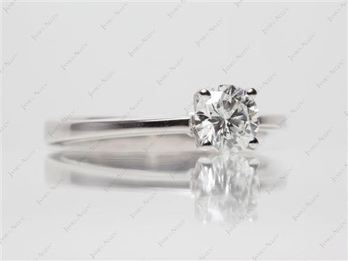 White Gold 0.71 Round cut Diamond Solitaire Ring Settings