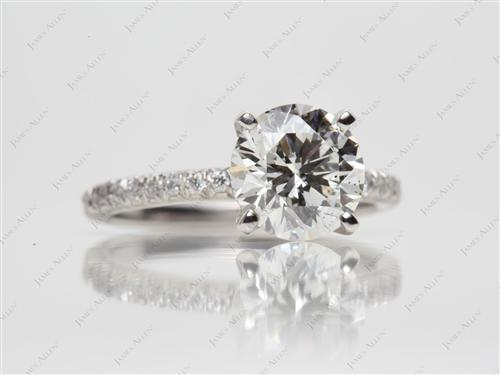 Platinum 2.14 Round cut Pave Diamond Rings