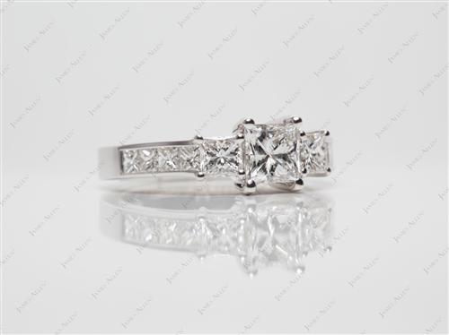 White Gold 0.50 Princess cut Side Stone Engagement Ring