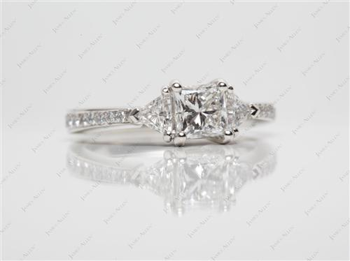 Platinum 0.79 Princess cut Diamond Ring