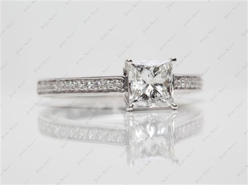 White Gold 1.02 Princess cut Diamond Rings
