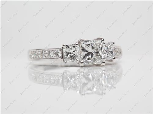 White Gold 0.68 Princess cut Engagement Rings With Side Stones