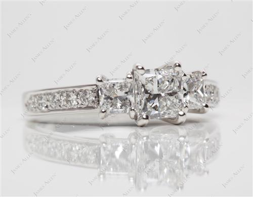 Platinum 0.74 Princess cut Engagement Ring