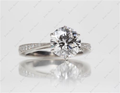 Platinum 1.90 Round cut Pave Diamond Rings