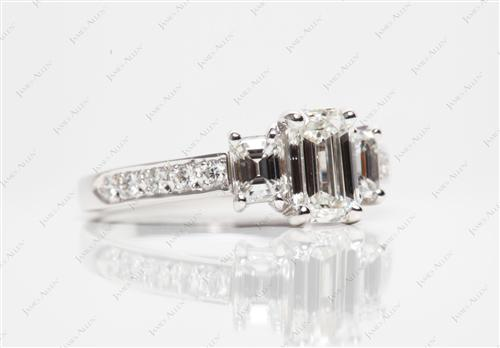 White Gold 1.00 Emerald cut Diamond Rings
