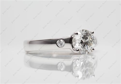 White Gold 0.82 Round cut Diamond Ring
